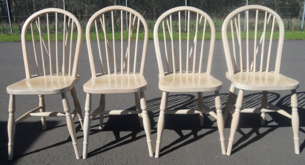 Set of Four Pale Windsor Kitchen Chairs